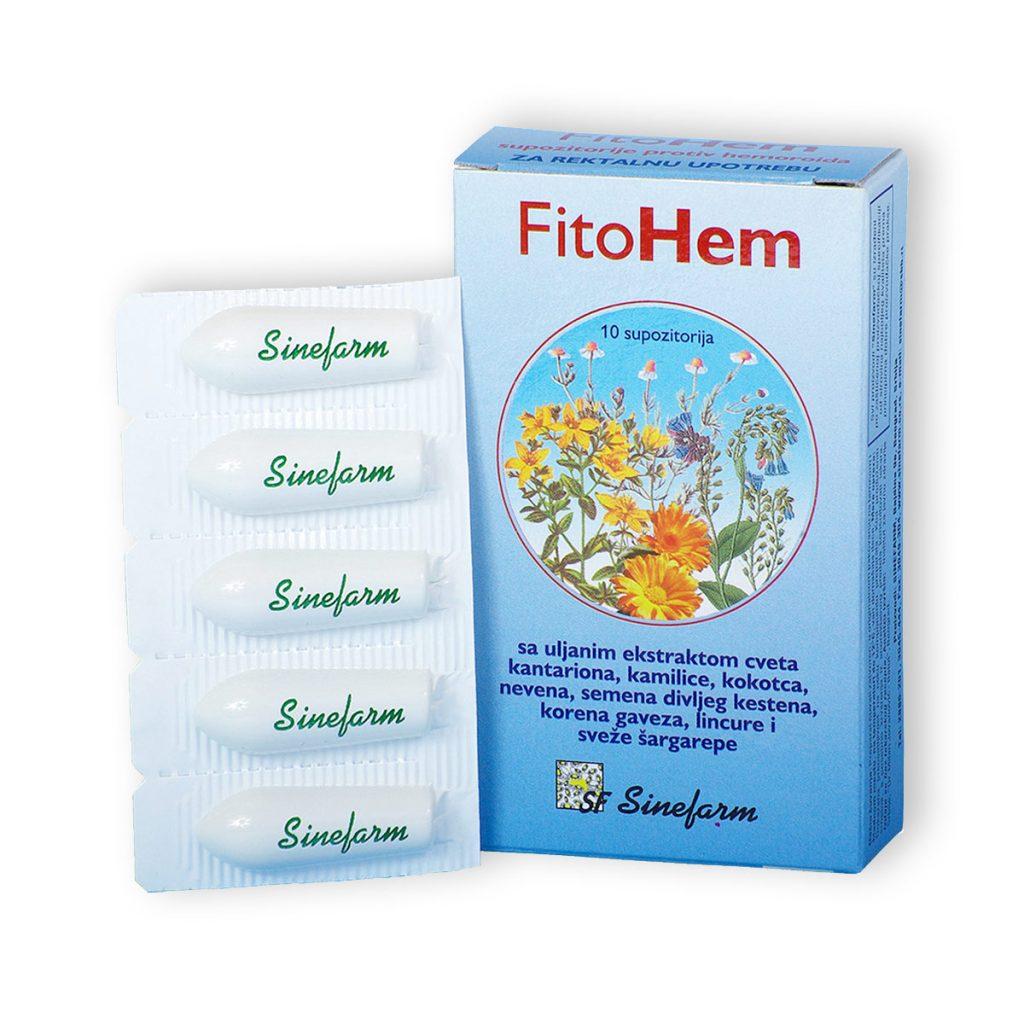Sinefarm fitohem supozitorije protiv hemoroida sa biljnim ekstraktima vitaminima d e 10 kom